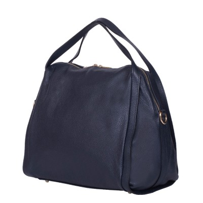 Дамска чанта от естествена кожа Evelyn, тъмносиня