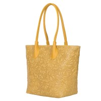 Чанта от естествена кожа с флорален принт Chloe, жълта