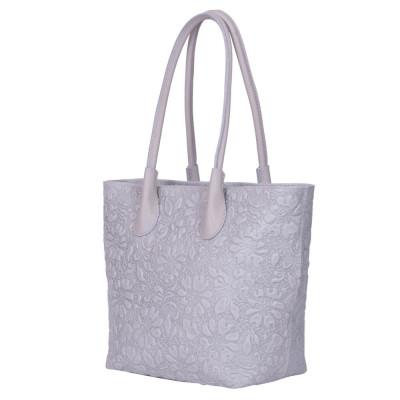 Чанта от естествена кожа с флорален принт Chloe, сива