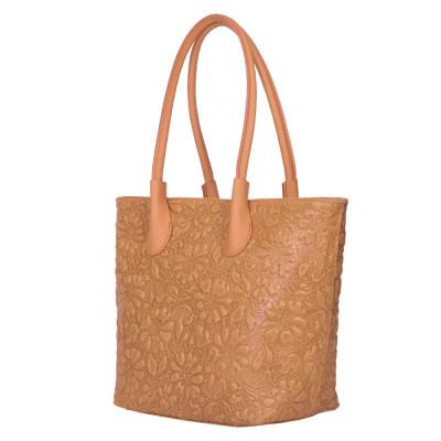 Чанта от естествена кожа с флорален принт Chloe, кафява