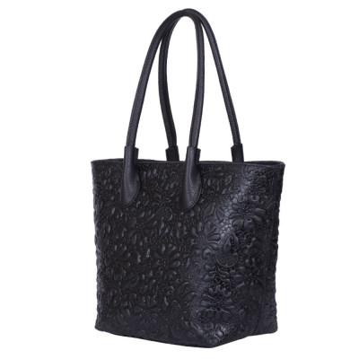 Чанта от естествена кожа с флорален принт Chloe, черна