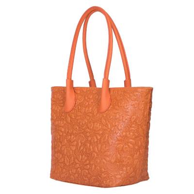 Чанта от естествена кожа с флорален принт Chloe, оранжева