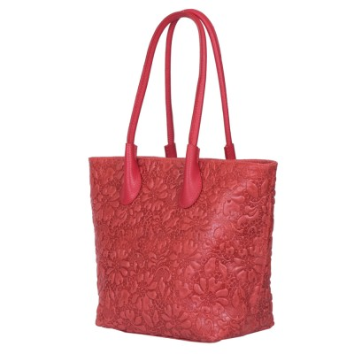 Чанта от естествена кожа с флорален принт Chloe, червена
