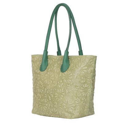 Чанта от естествена кожа с флорален принт Chloe, зелена