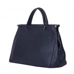 Дамска чанта от естествена кожа Camila, тъмносиня