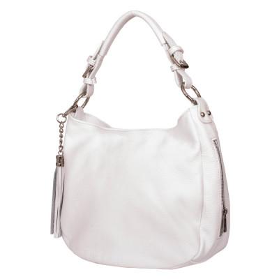 Дамска чанта от естествена кожа Edina, бяла