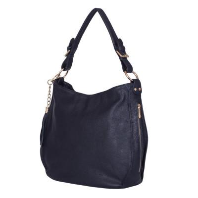 Дамска чанта от естествена кожа Edina, тъмносиня