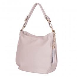 Дамска чанта от естествена кожа Edina, кремава