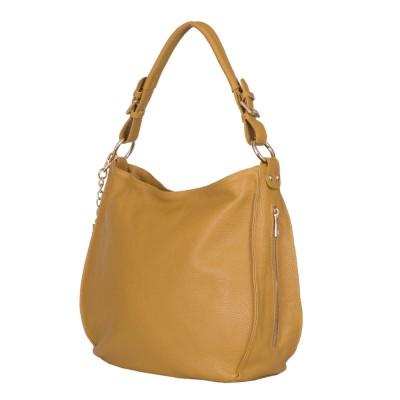 Дамска чанта от естествена кожа Edina, жълта