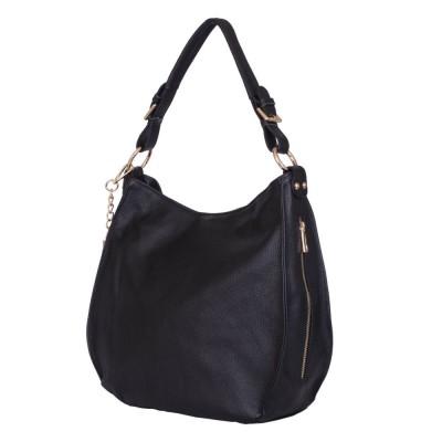 Дамска чанта от естествена кожа Edina, черна
