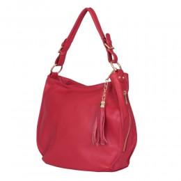Дамска чанта от естествена кожа Edina, червена