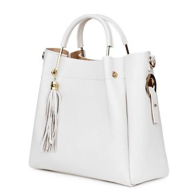 Дамска чанта от естествена кожа Fabiana, бяла