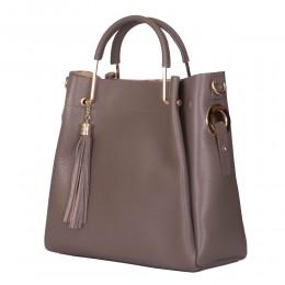 Дамска чанта от естествена кожа Fabiana, бежова