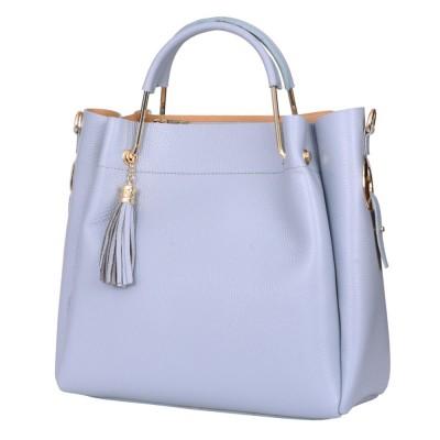 Дамска чанта от естествена кожа Fabiana, светлосиня