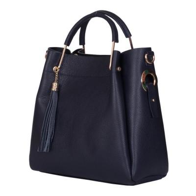 Дамска чанта от естествена кожа Fabiana, тъмносиня