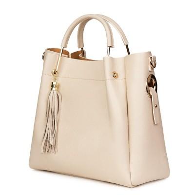 Дамска чанта от естествена кожа Fabiana, светло бежова