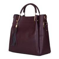 Дамска чанта от естествена кожа Fabiana, тъмночервена