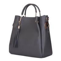 Дамска чанта от естествена кожа Fabiana, сива
