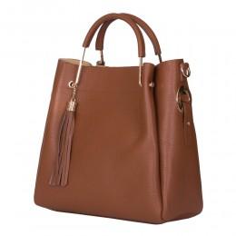 Дамска чанта от естествена кожа Fabiana, коняк