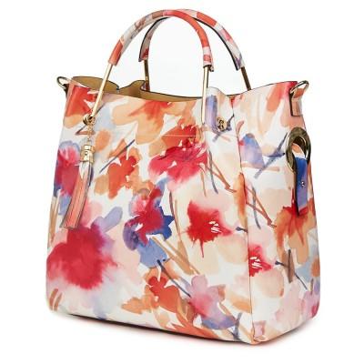 Дамска чанта от естествена кожа с цветя Fabiana FF4