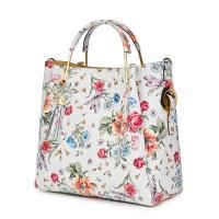 Дамска чанта от естествена кожа с цветя Fabiana