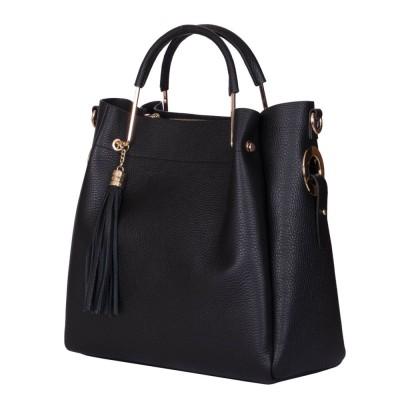Дамска чанта от естествена кожа Fabiana, черна