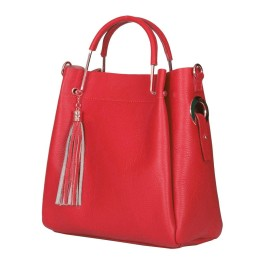 Дамска чанта от естествена кожа Fabiana, червена