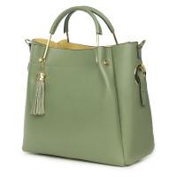 Дамска чанта от естествена кожа Fabiana, фъстък зелена