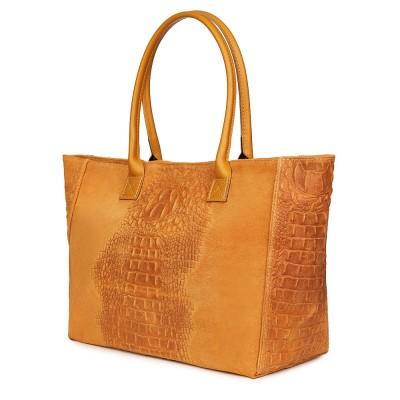 Дамска чанта от естествена кожа Lucrezia, жълта