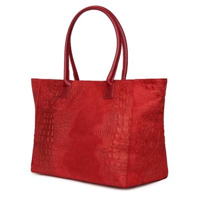 Дамска чанта от естествена кожа Lucrezia, червена