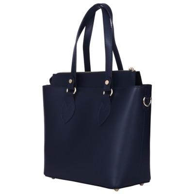 Дамска чанта от естествена кожа Luna, тъмносиня