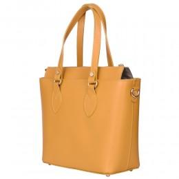 Дамска чанта от естествена кожа Luna, жълта