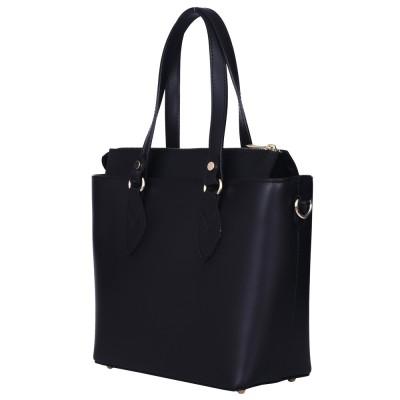 Дамска чанта от естествена кожа Luna, черна