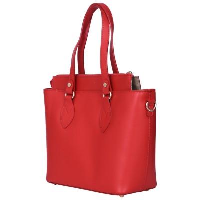 Дамска чанта от естествена кожа Luna, червена