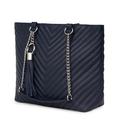 Чантата от ватирана кожа Marcella, тъмносиня