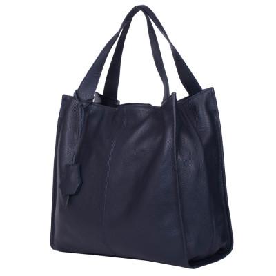 Дамска чанта от естествена кожа Naomi, тъмносиня