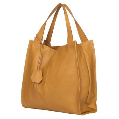 Дамска чанта от естествена кожа Naomi, жълта