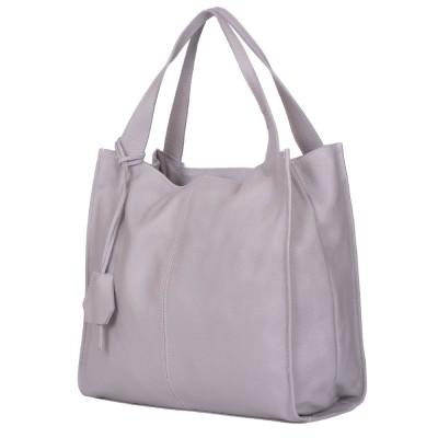 Дамска чанта от естествена кожа Naomi, сива