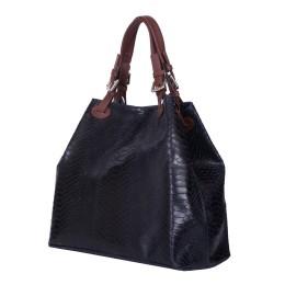Дамска чанта от естествена кожа Natalie, тъмносиня