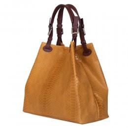 Дамска чанта от естествена кожа Natalie, жълта горчица