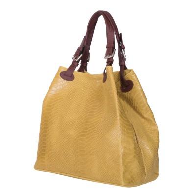 Дамска чанта от естествена кожа Natalie, жълта