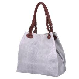 Дамска чанта от естествена кожа Natalie, сива