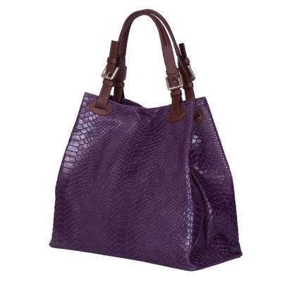 Дамска чанта от естествена кожа Natalie, лилава