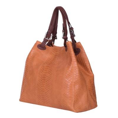 Дамска чанта от естествена кожа Natalie, оранжева