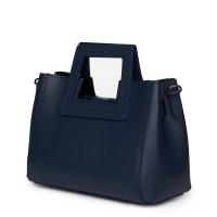 Дамска чанта от естествена кожа Armina, тъмносиня