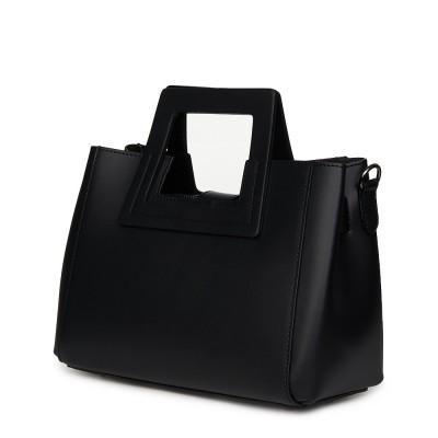 Дамска чанта от естествена кожа Armina, черна