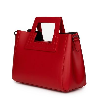 Дамска чанта от естествена кожа Armina, червена
