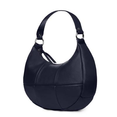 Чанта от естествена кожа Cristina, тъмносиня
