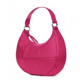 Чанта от естествена кожа Cristina, фуксия