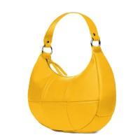 Чанта от естествена кожа Cristina, жълта